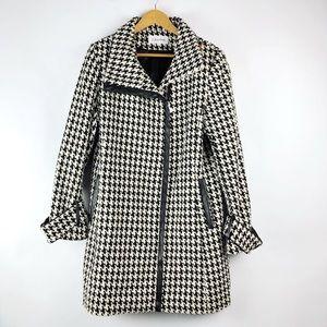 [ Calvin Klein ] Houndstooth Wool Blend Coat • 14